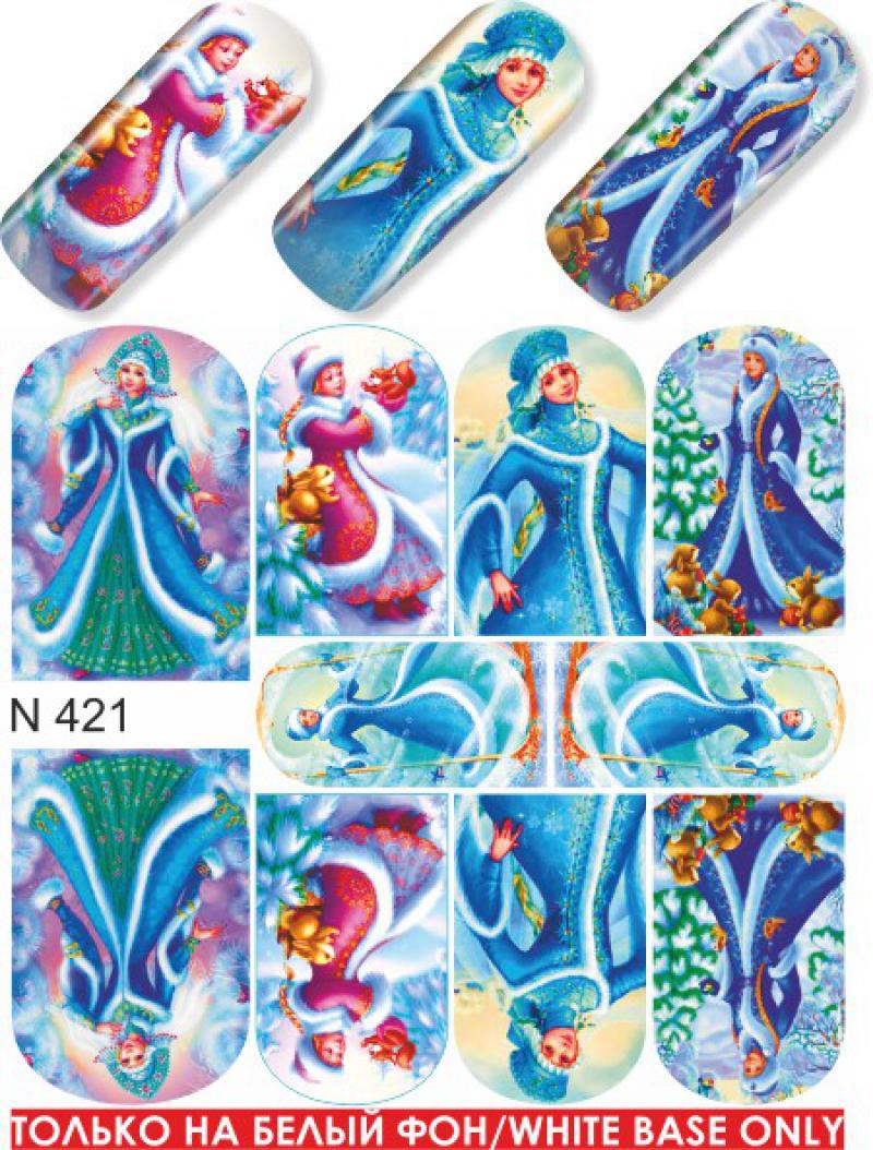 Дизайн ногтей с новогодними наклейками